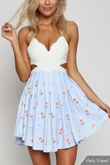 Random Floral Print Cutout Waist Mini Dress