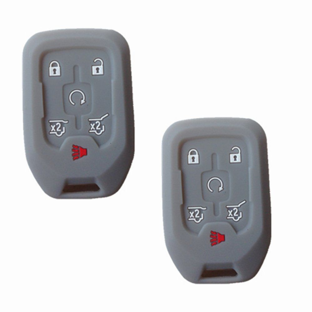 Tckey 2pcs Gray Silicone Protective Fob Skin Key Case Cover Chains