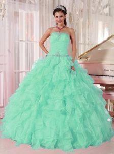 f57e207747a Discount Aqua Blue Ball Gown Strapless Ruching Organza Beading Pretty  Quinceanera Dresses  prettyquinceaneradresses