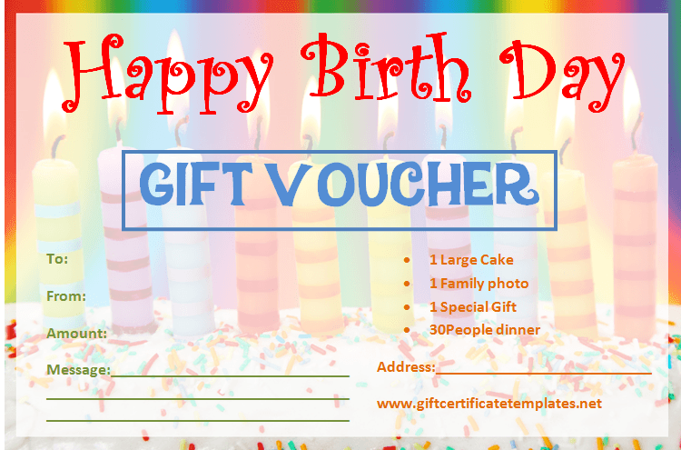 Candle Birthday Gift Certificate Template Vouch Pinterest Gift