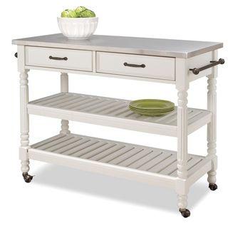 @Overstock.com   Savannah White Kitchen Cart   Savannah Kitchen Cart Is  Constructed Of