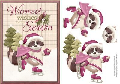 Warmest Wishes on Craftsuprint designed by Chris Harland - A step by step card front with cute Christmas racoon and greeting - Now available for download!