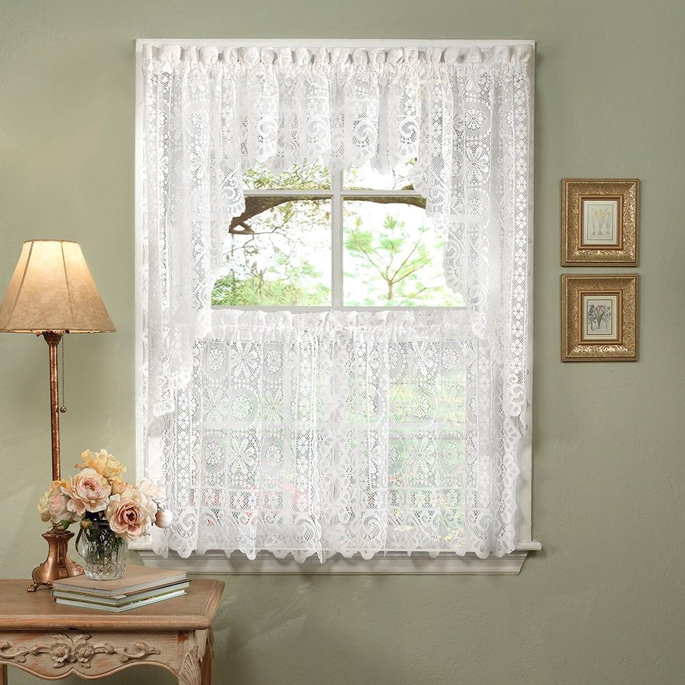 Luxurious old world style white lace kitchen curtains tiers shade
