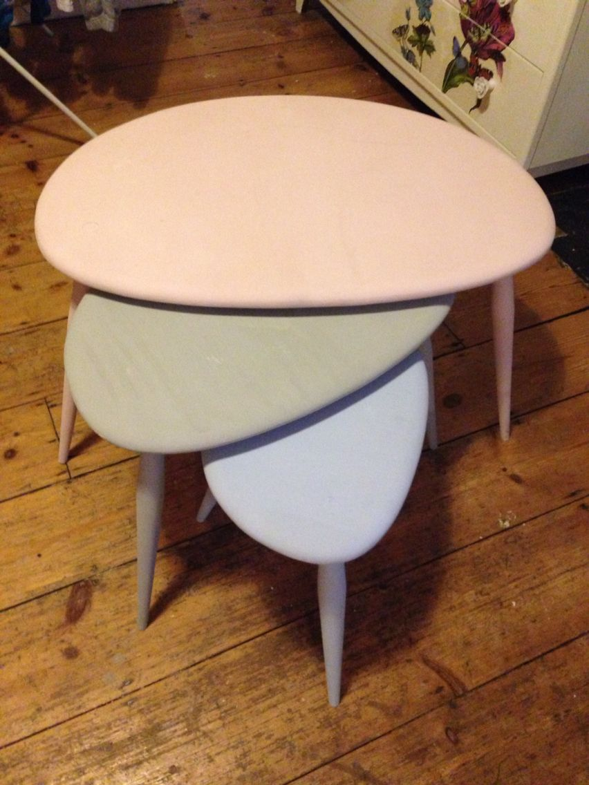 Nest of 3 ercol style coffee tables All painted in Annie Sloan