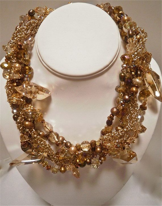 Large Bridal Statement Golden Crystal and Pearl Necklace
