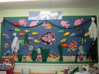 Sea Adventures Display, classroom Display, seaside, sea, octopus, water, shell, crab, under the sea