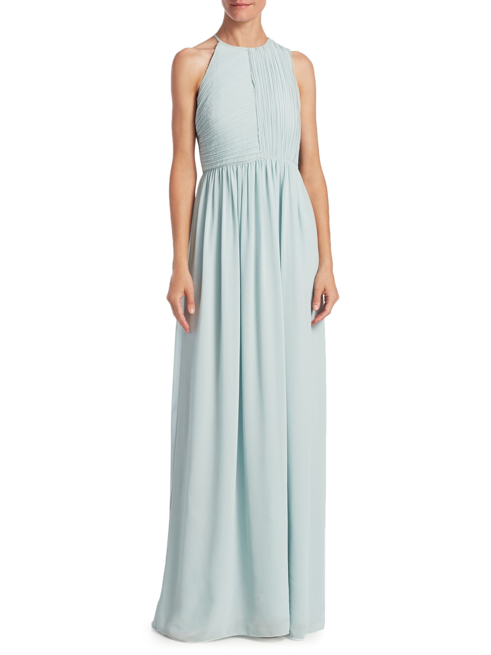 HALSTON HERITAGE Plisse Fortuny Ruched Gown | Dresses | Pinterest ...