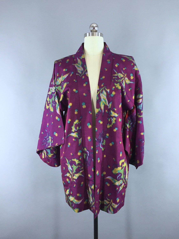 Vintage 1930s Silk Haori Kimono Cardigan / Purple Ikat Floral ...
