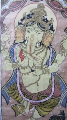 Ganesha Tasar Cloth Painting Iii