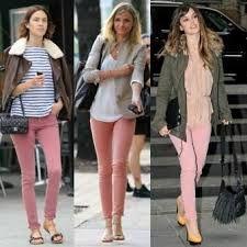 Resultado De Imagen Para Jean Palo De Rosa Blazer Beige Colored Jeans Outfits Pink Pants Outfit Light Pink Jeans