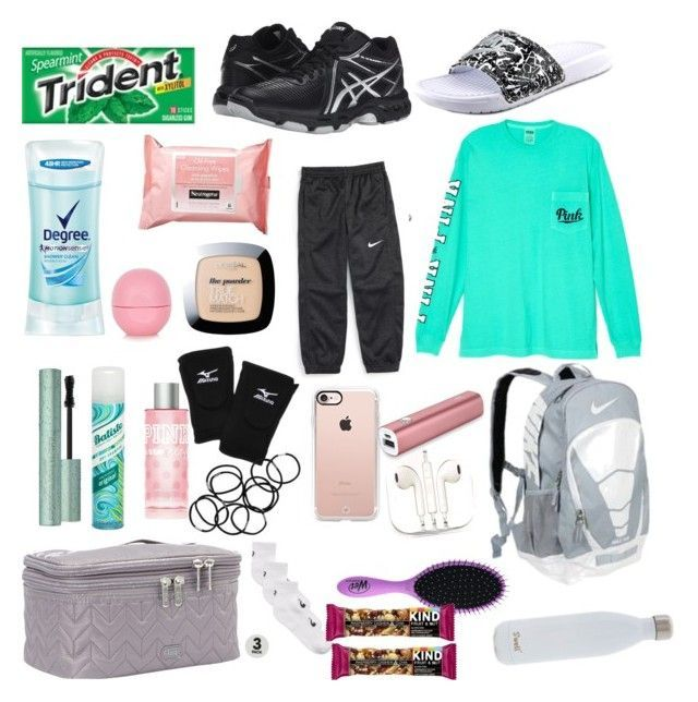 What S In My Volleyball Bag By Tumblrl On Polyvore Featuring Asics Degree Mizuno Topshop Phunkeetre Volleyball Bag Volleyball Outfits Basketball Clothes