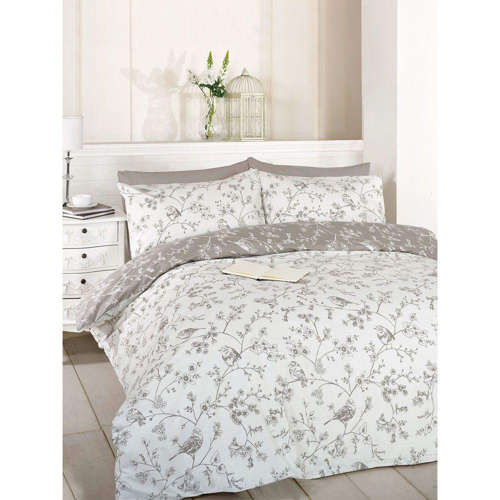 Blossom Floral Bird Duvet Cover Reversible Grey Bedding