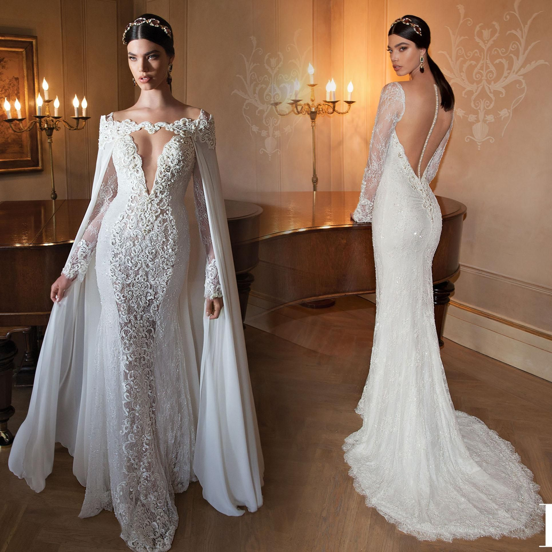 long sleeve lace mermaid wedding dresses with cape pearl beaded