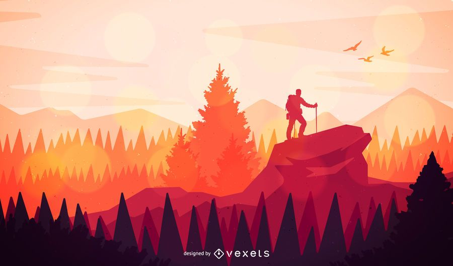 Flat Landscape Illustration Featuring Lots Of Trees Mountains And