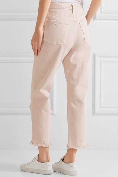 Ivy Cropped Distressed High-rise Straight-leg Jeans - Pastel pink J Brand wYnjd