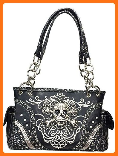 Zzfab Embroidered Concealed Carry Western Handbag Rhinestone Studded Skull  Purse - Shoulder bags ( Amazon Partner-Link) 87cb40810c2c2