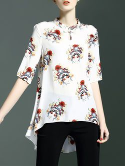 Casual Silk Short Sleeve Crew Neck Blouse