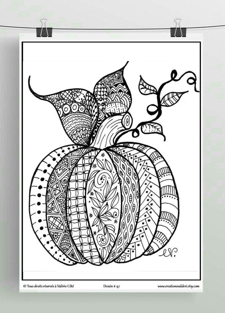 Coloriage à imprimer, Dessin no47, La Citrouille d