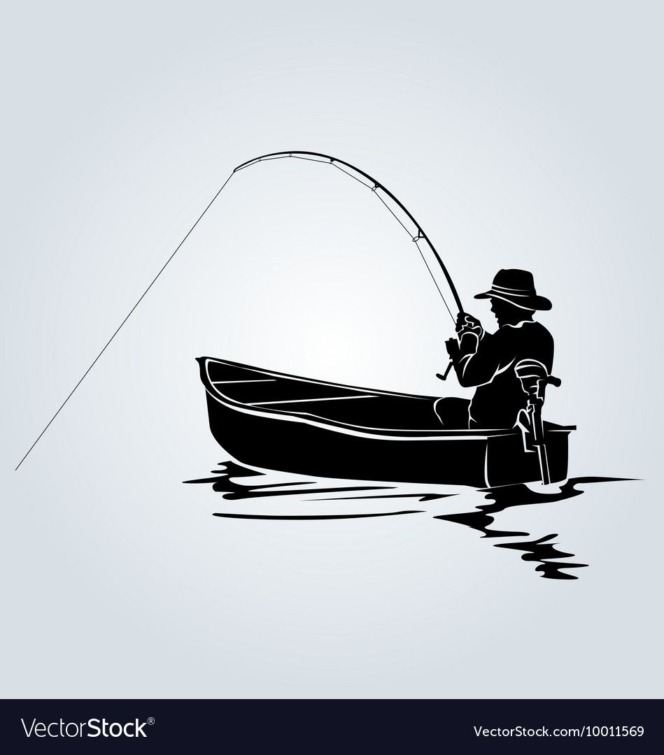 Download Silhouette Of A Fisherman In A Boat Royalty Free Vector Ad Boat Fisherman Silhouette Vector Ad Fisherman Drawing Fisherman Tattoo Boat Drawing