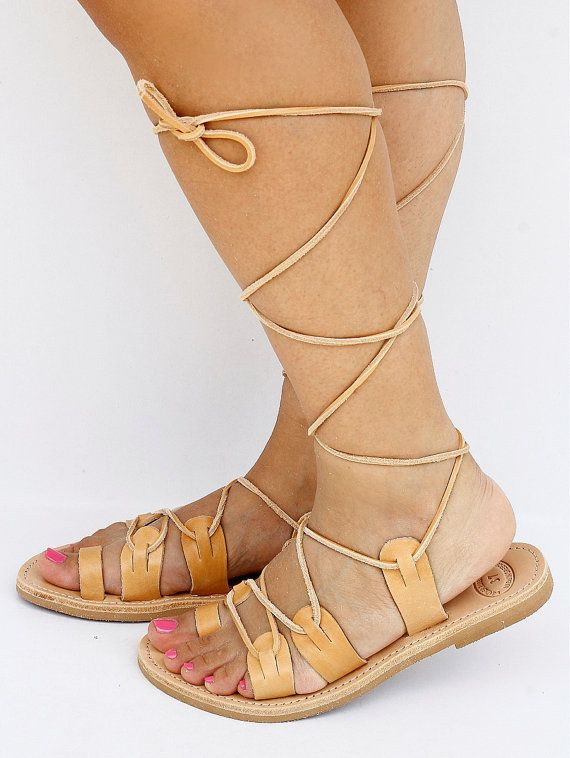 9e890fb3c0fed Unisex Spartan Leather Sandals Tie Up Sandals Traditional | Fringues ...