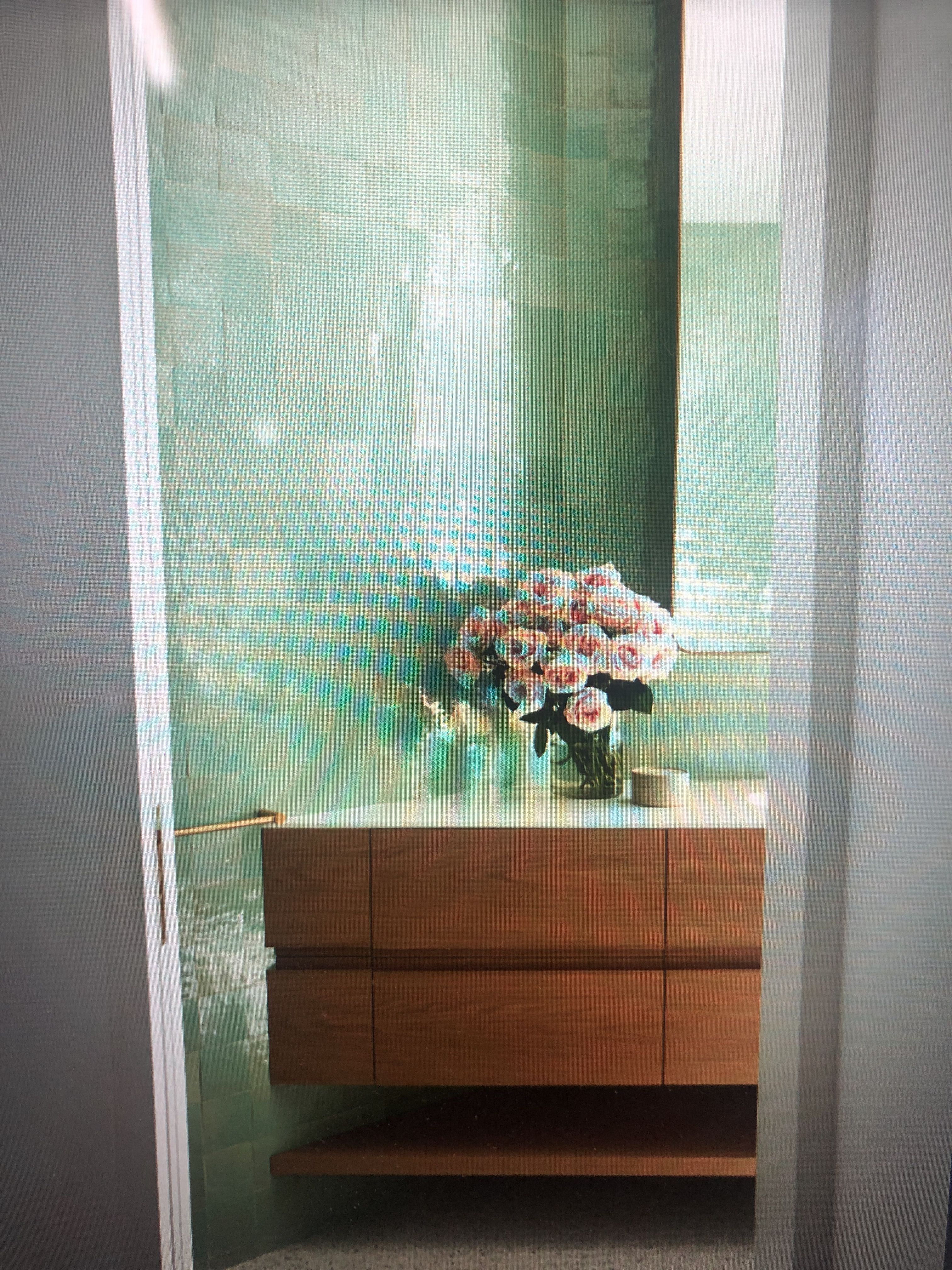 Bathroom. Lighted White Wooden Vanity Table With Mirror