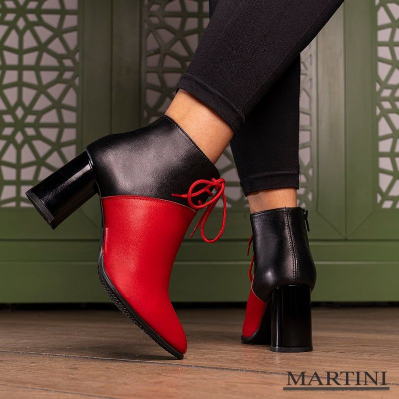 Women Boots ~ Black Leather High Heel Boots ~ Women Boots ~ Elegant High Heel Boots ~Tie Ankle Boots ~ Burgundy Shoes ~ Genuine Leather