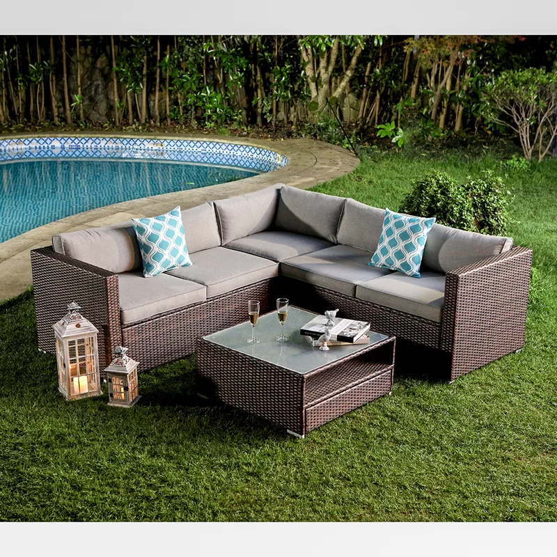 Newagen 4 Piece Outdoor Furniture Set Mottlewood Brown Wicker Sofa W Warm Gray Cushions Glass Coffee Table 2 Teal Pillows Incl Waterproof Cover Patio Sofa Set Outdoor Furniture Sets Wicker Sofa