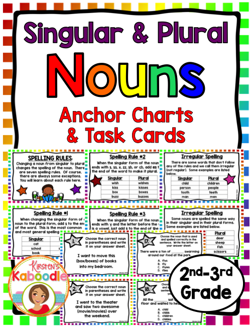 Singular and Plural Nouns Task Cards and Anchor Charts | Noun form ...