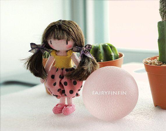 Crochet girl doll by FairyFinFin on Etsy, $40.00