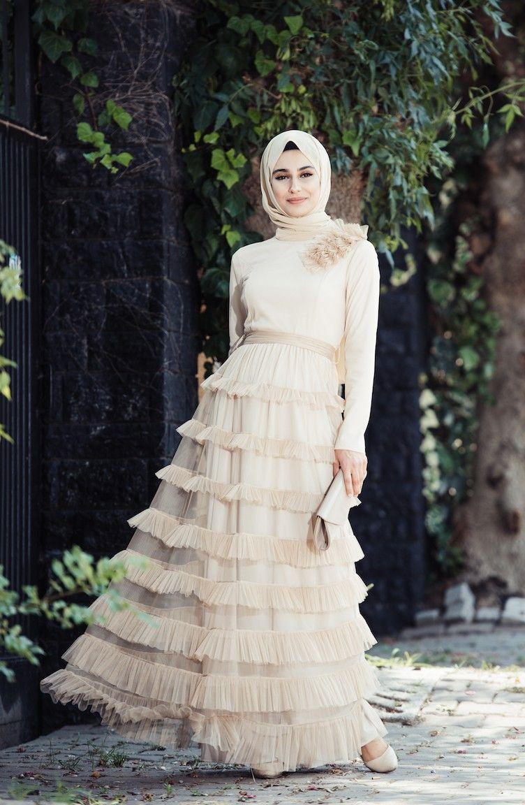 9154a852a7679 Sefamerve Tesettür Tül Fırfırlı Abiye Elbise Modelleri - Moda Tesettür Giyim