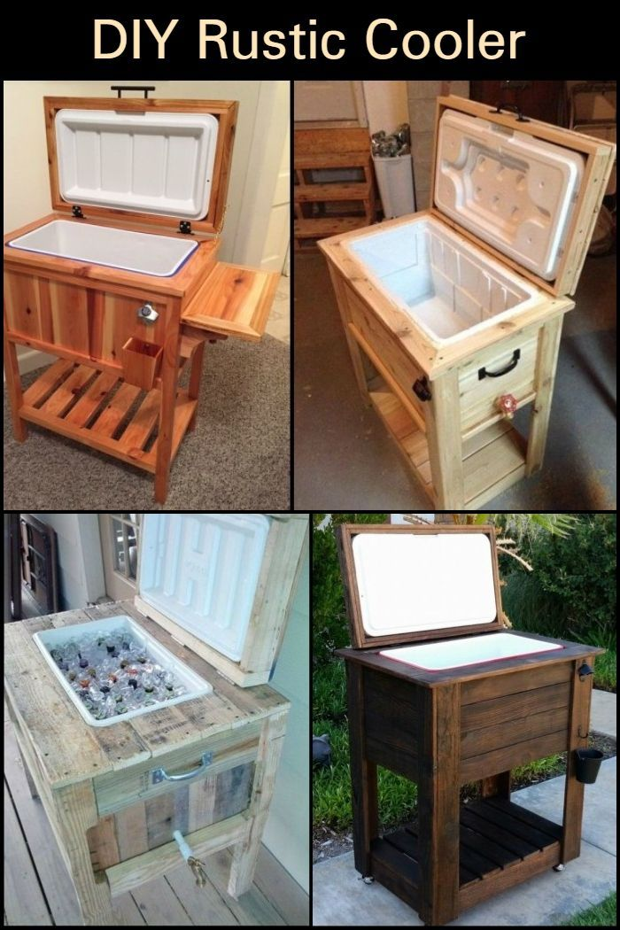 DIY Rustic Cooler - Rustic patio furniture, Diy wood plans, Diy patio furniture, Wood furniture diy, Diy wood projects, Rustic outdoor furniture - 2 inch Screws