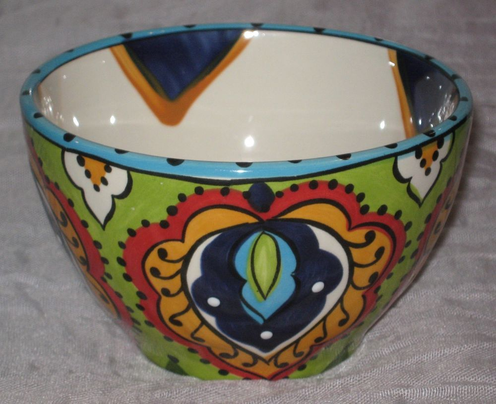 Espana Lifestyle Handcrafted Bocca Floral Pattern 4  Nesting Bowl 8oz #DH91 #Espana & Espana Lifestyle Handcrafted Bocca Floral Pattern 4