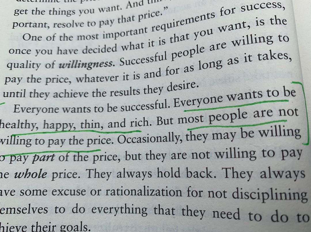 Everything has a price. Everyone want be successful, wealthy, healthy, happy. But not everyone willing to pay for it or sacrifice to achieve their desire. . . @thebriantracy %
