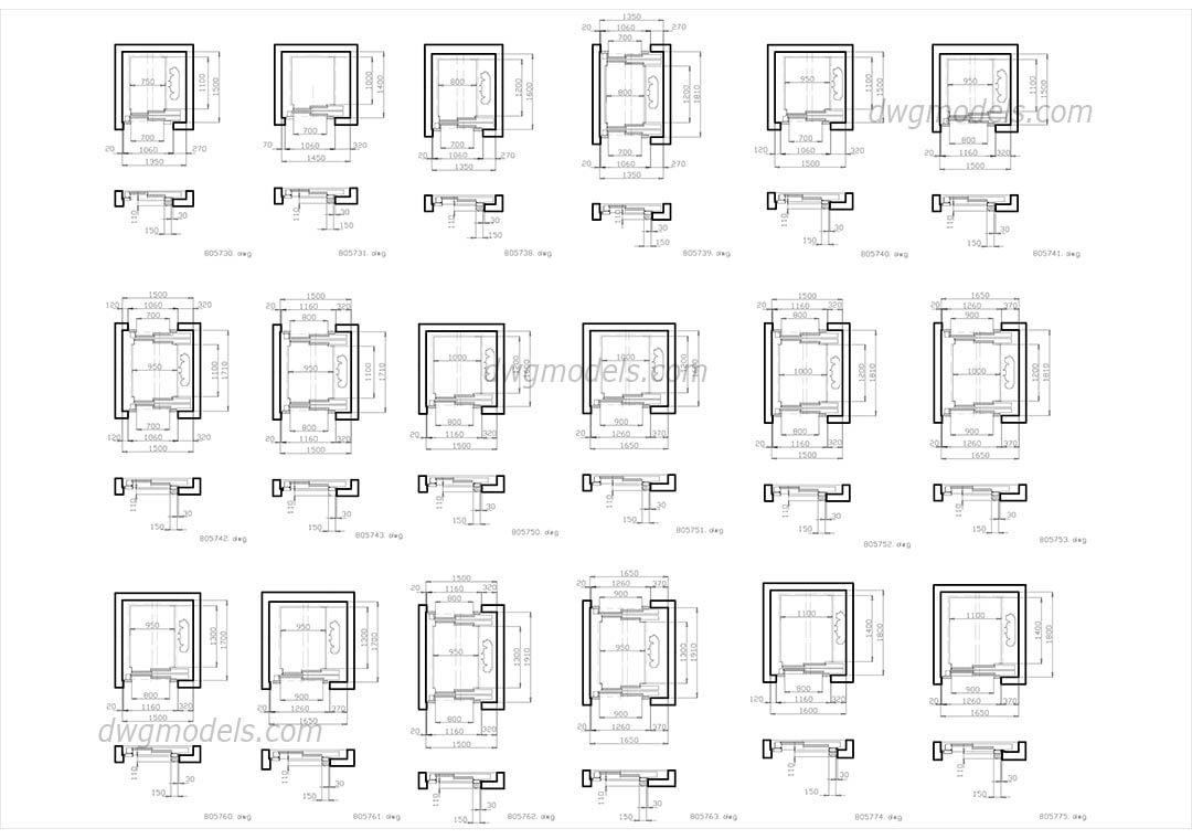 Elevators Kone  Part 1 CAD drawings | BLOCKS | Cad blocks