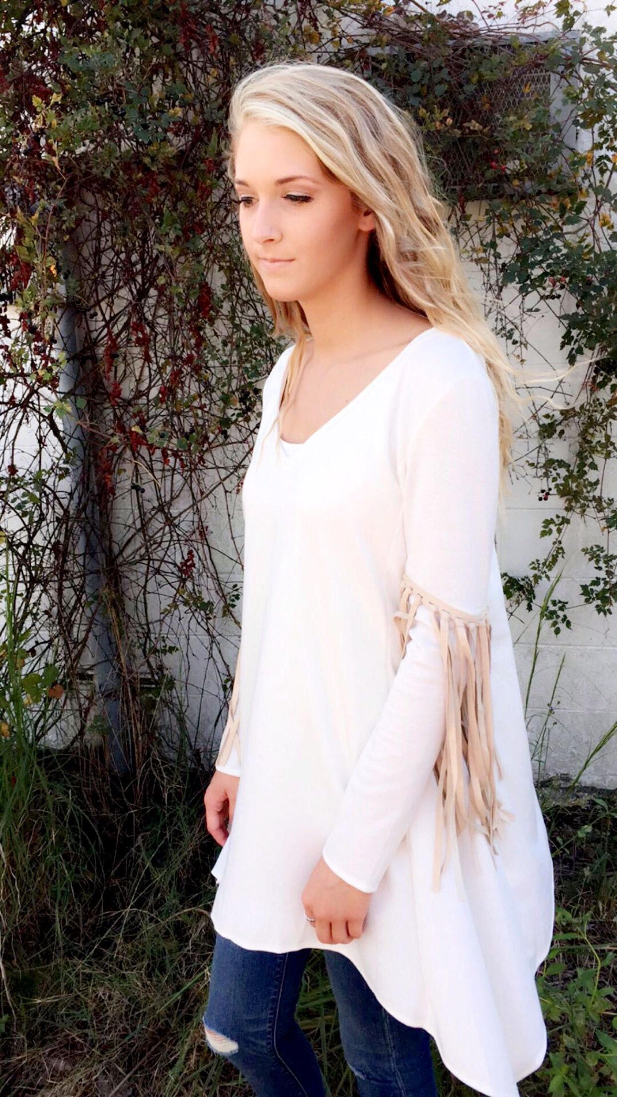 Judith March Winter Nights- Loving this tunic top! #christmasparties #judithmarch #tassels #shopb&b #suede $75.00