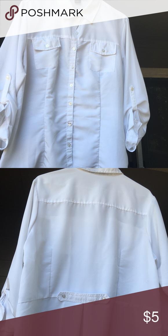 8b3286d5 White sheer top White sheer top miss lili Tops Button Down Shirts ...