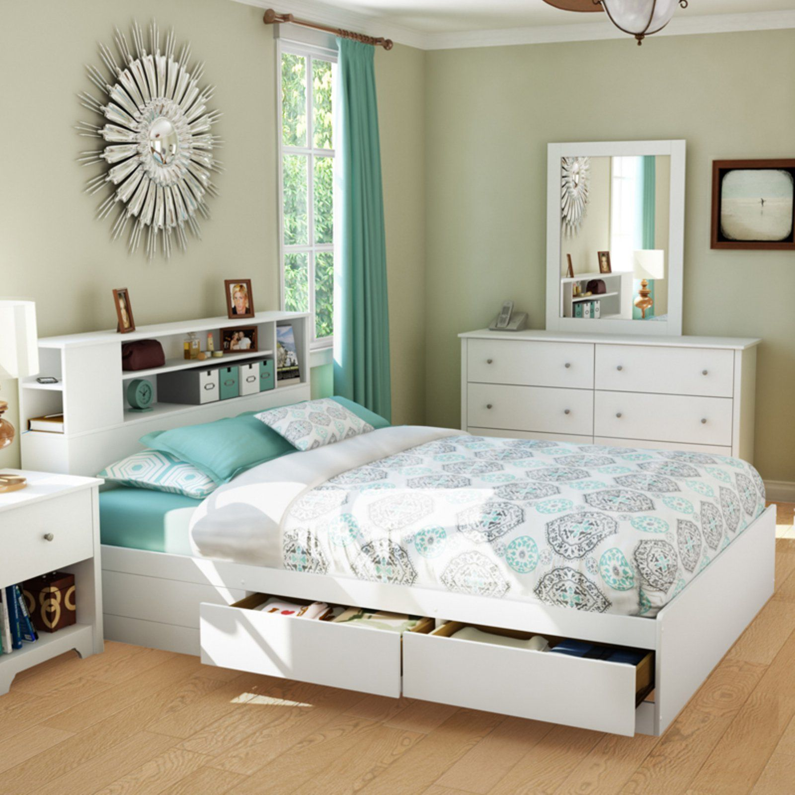 South Shore Vito Queen Mates Bed With Drawers And Bookcase