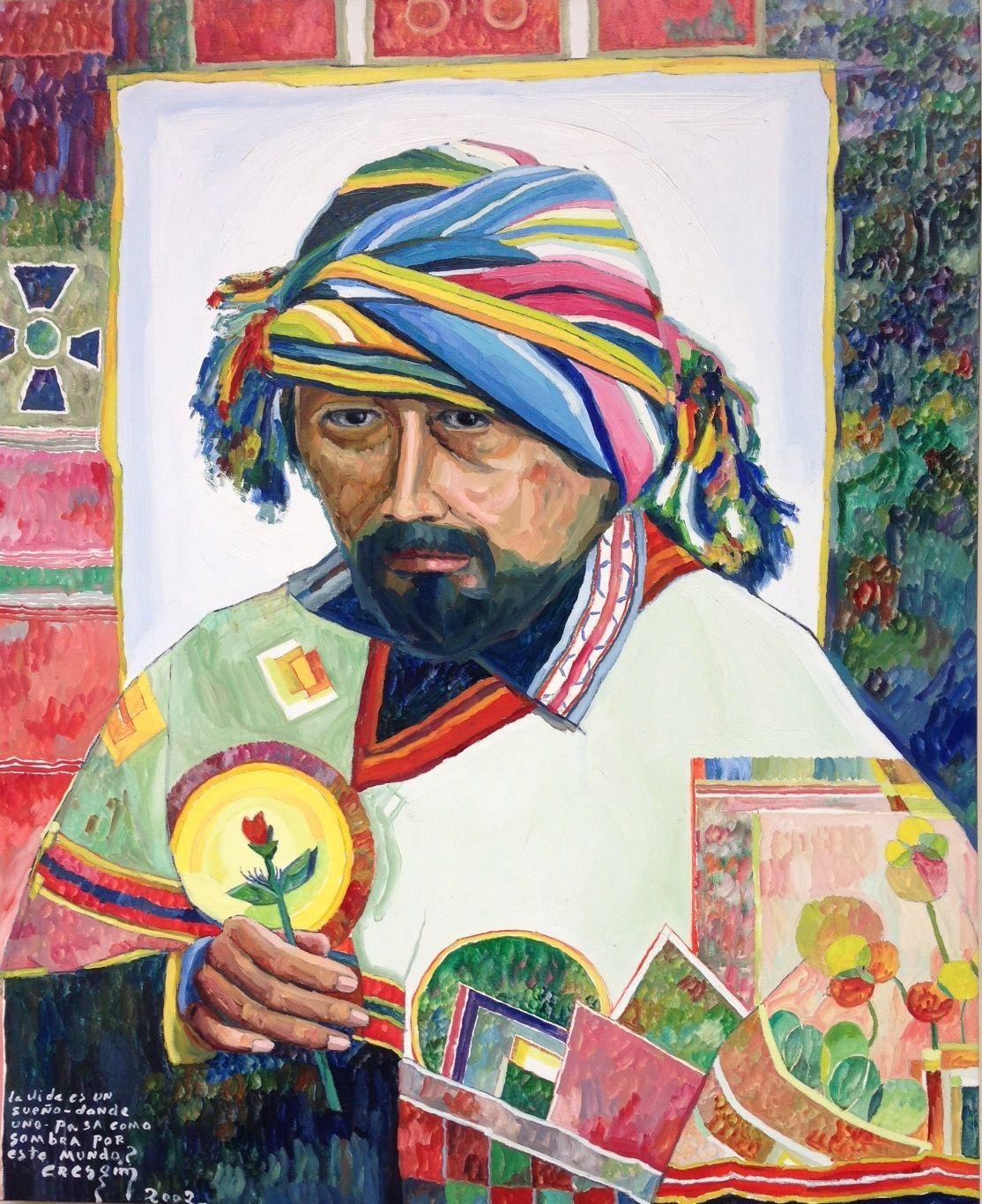 """Bernardo CRESPIN : """"La vida es un sueño donde uno pasa como sombra por este mundo"""" (Autorretrato) ; 2002 ; oleo sobre lienzo ; 94cm x 76cm ; colección MDAA (adquirido del artista a través de la galería Humberto Saravia)"""