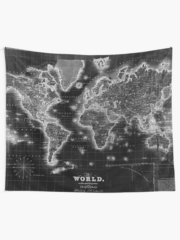 World Map Tapestry Black And White : world, tapestry, black, white, Black, White, World, (1840), Inverse', Tapestry, BravuraMedia, Tapestry,, Picture, Wall,