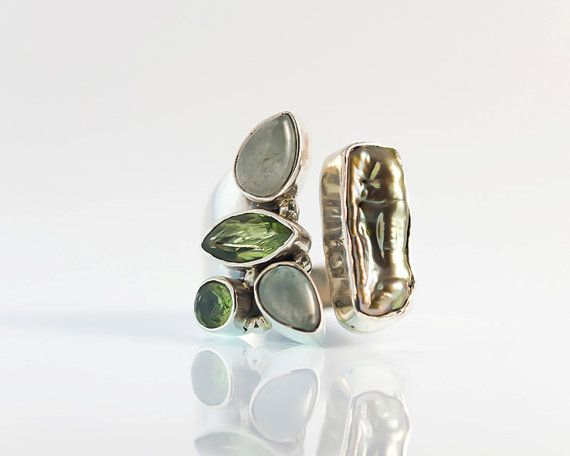 Green Tourmaline ring with a raw pearl  925 Sterling by batyas