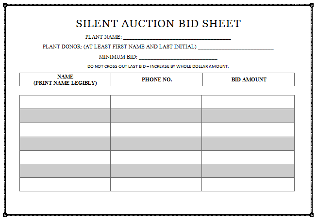 image about Printable Silent Auction Bid Sheets titled Simple Sheets Free of charge Printable Tranquil Auction Quiet Auction