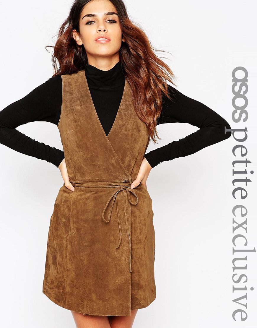 Image 1 of ASOS PETITE Wrap Front Dress in Suede $135 | My Style ...