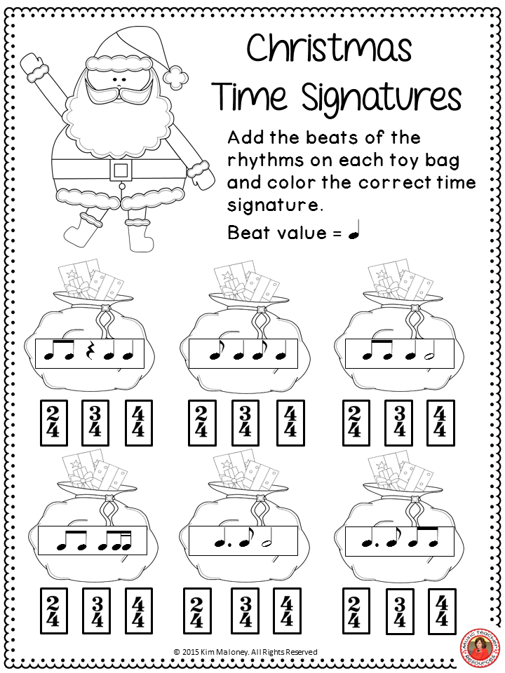 FREE DOWNLOAD!! Four music worksheet with a Christmas theme ...