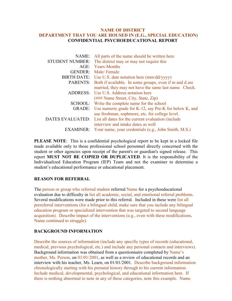 Template For A Bilingual Psychoeducational Report For School Psychologist Report Template Best Sam Report Template School Psychologist Professional Templates