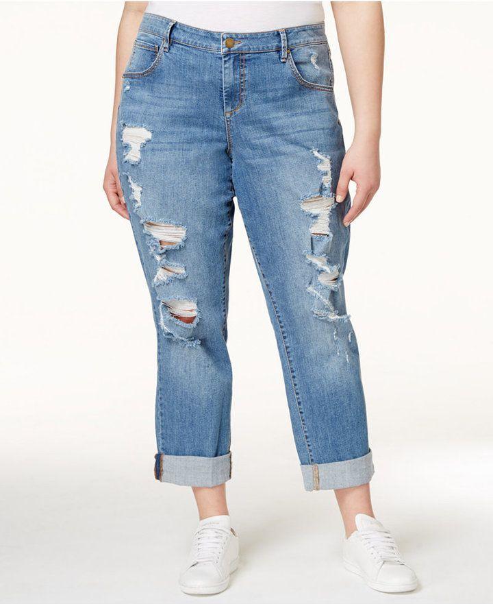 0717515206a Rachel Roy Curvy Plus Size Ripped Girlfriend Jeans