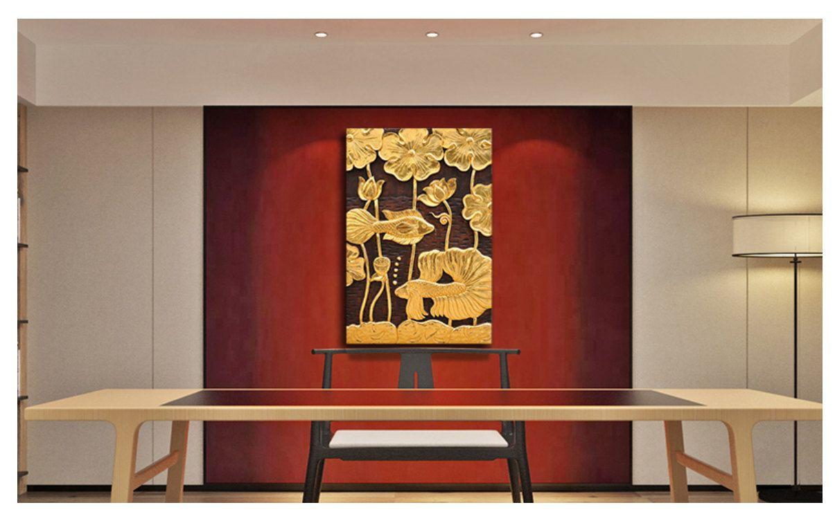 zen home office. Handmade Teak Wood Carved Gilding Buddha Lotus/Bodhi Leaf \u0026 Golden Fishes Zen Wall Mount Home Office A