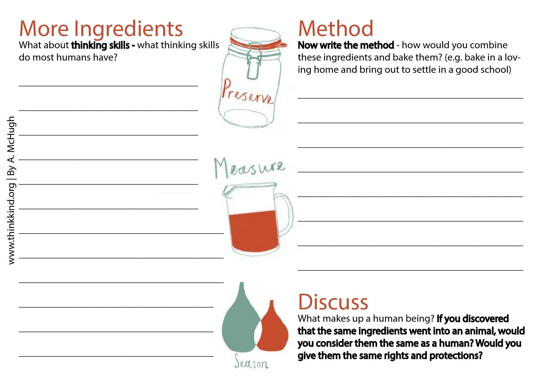 Recipe For A Human Being Worksheet