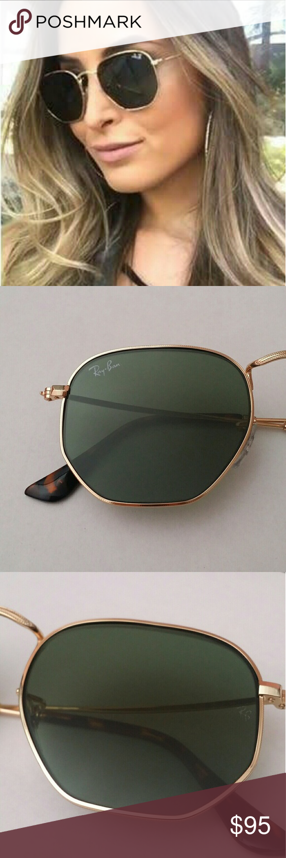 48e6639f2ed9 Only sell 100% Brand New & Authentic Ray-Ban Sunglasses. PRODUCT DETAILS:  Model: RB 3548 001 Style: Hexagonal Frame color: Gold Lens ...
