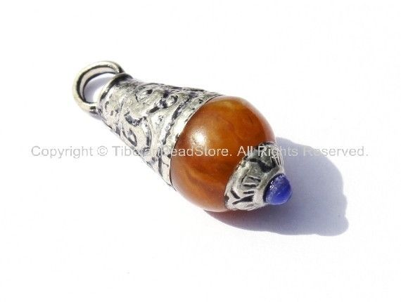 Tibetan Amber Copal Resin Drop Amulet Charm Pendant with Tibetan Silver Caps & Lapis Accent - WM1870