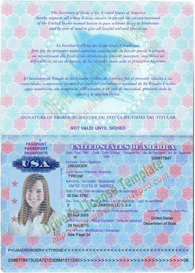 Passport Usa Psd Format Template Passport Usa Passport